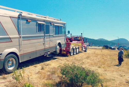 Our first tow during First Year RVing