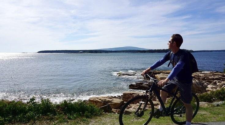 Lucas biking Schoodic Peninsula.