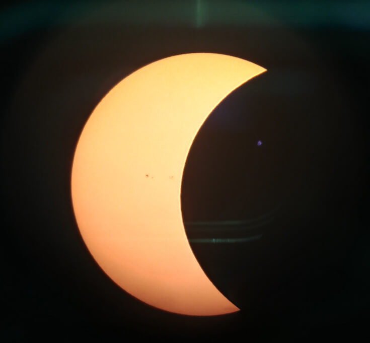 The Solar Eclipse as seen through a telescope