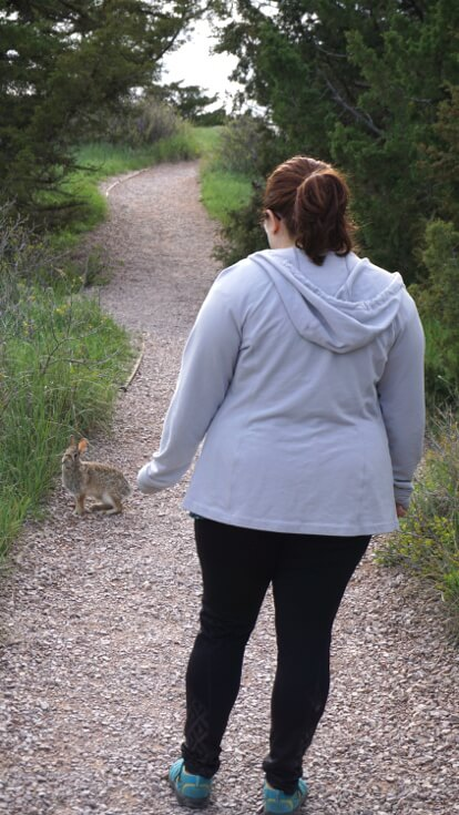 Day Hikes at Badlands National Park: Sarah runs across a rabbit on the Cliff shelf nature trail