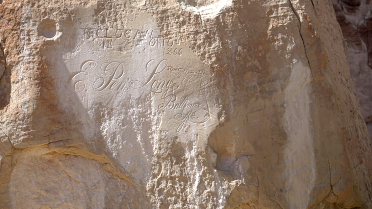 An elaborate inscription by E. Pen Long at El Morro