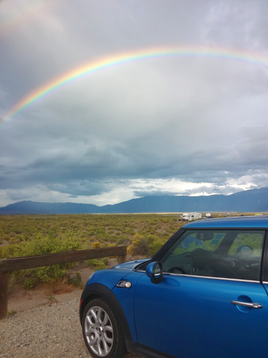One of the Best Campsites: A Mini Cooper parked in a campsite near great sand dunes national park.